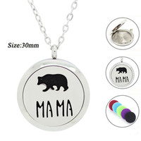 Wholesale Stainless Steel Chains Bear - 316L Stainless Steel Silver new MAMA Bear design perfume locket 30mm Aromatherapy locket pendant magnetic Oil Diffuser necklace