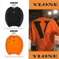 Wholesale Winter warm Off White VLONE Hoodies Men hoodie Sweatshirt High Quality Big V Off White VLONE Hoodies