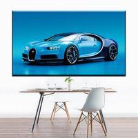 cool painted imágenes al por mayor-ZZ1299 arte de la lona decorativa moderna cool blue sports car impresiones de la lona pintura del arte del aceite lienzo pictures for livingroom arte de la pared