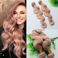 Wholesale Pure Gold 24 - Hot Pink Colorful Human Hair Extensions Rose Gold Brazilian Body Wave Remy Hair Bundles For Summer Wholesale