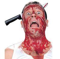ingrosso coltelli-Coltello insanguinato attraverso la testa Scherzo Scherzi pratici Gag Halloween Party Prop