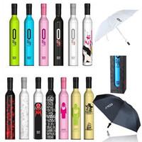 ingrosso bottiglie piegate-Bottiglia di vino Ombrello da viaggio Moda Bottiglia di vino Pieghevole da sole Ombrello da pioggia Antivento Ombrellone 41 design