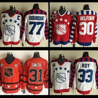 Wholesale Dry Ice Delivery - ALL Star #77 Ray Bourque Jersey Star #33 Patrick Roy #30 Ed Belfour #31 Billy Smith 75TH Throwback Hockey jerseys free delivery