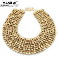 Wholesale Statement Necklace Metal Bib - MAINILAI Chunky Metal Statement Necklace For Women Neck Bib Collar Choker Necklace Maxi Jewelry Golden & Silver Colors Bijoux