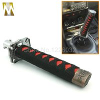 metal sports jdm - 150mm Black Red JDM Samurai Sword Shift Knob Shifter Katana Metal Weighted Sport With Adapter