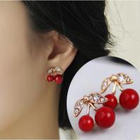 Wholesale Cherry Rings - Stud Earrings Fashion Lovely Red cherry earrings rhinestone leaf bead stud earrings for woman jewelry diamante Earing Red Cherry Ear Rings