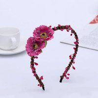 Wholesale Cherry Blossom Hair - 10pcs lot Flower Hairbands Cherry Blossoms Artificial Floral Hair Accessories Beach Headwear For Children or Women Headdress
