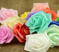 köpüklü gül toptan satış-7 cm Yapay Köpük Güller Çiçekler Ev Düğün Dekorasyon Scrapbooking Için PE Çiçek Başları Öpüşme Topları Çok Renkli G57