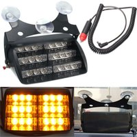 ingrosso 12v ha condotto l'indicatore luminoso ambrato-Car 18 LED spia luminosa lampeggiante Dash Strobe Emergency Lamp Amber Truck SUV Nuovo