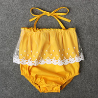 Wholesale Tulle Rompers Baby - Baby Girls Off Tulle Lace Rompers with Strap Summer 2017 Baby Boutique Clothing Euro America Infant Toddler Girls One-piece Jumpsuits