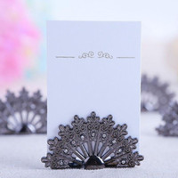 Wholesale Peacock Place Cards - Antiqued Fan Place Card Holder Wedding Favors Gift Party Table Decoration Shower Peacock Name Card Holder 100 PCS lot ZA3401