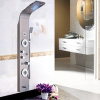 Wholesale Led Waterfall Tub Faucets - Brushed Nickel LED Waterfall Shower Column Panel Massage Jets Tub Shower Head New Contemporary
