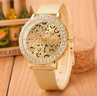 Wholesale Wholesale Grain Europe - Network popular Europe Leopard grain watches watches sold high-grade diamond model Gold mesh belt watches