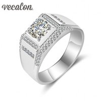 Wholesale 925 Silver Men 12mm - Vecalon Fine Jewelry Men wedding Band ring 1.5ct diamond Cz 925 Sterling Silver male Engagement Finger ring Width 12mm