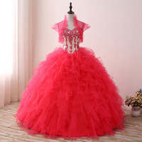 2017 Реальное изображение Red Ball Gown Quinceanera Платья Милая кружева Appliqued Ruffles Keyhole Back Sweet 15 Платье Prom Party Gowns SQ007