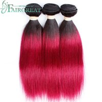 Wholesale Two Tone Remy Human Hair - Fairgreat Ombre Brazilian Human Hair Bundles Peruvian Straight Hair weaving Two Tone Colored Non Remy #T1B 118 Brazilian Human Hair Wefts