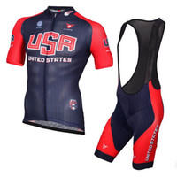 Wholesale men clothes usa - USA team Short Sleeves Set Cycling Jersey bib shorts sets Bike Cycling Shirt Ciclismo Clothes for Men ropa ciclismo hombre D1428