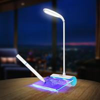 abat-jour en verre vert achat en gros de-Date Design Rechargeable lampe de bureau LED Light avec panneau de message tactile commutateur meilleur cadeau pour les étudiants enfants ZJ0221