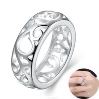 Wholesale Simple Flower Engagement Rings - Korean Pop Hot Sale Ring for Women Simple Silver Plated Hollow Out Flower Pattern Finger Rings Jewelry Party Wedding Birthday Gift Wholesale