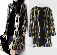 Wholesale Leopard Print Sweater Top - Wholesale-Hot Sale ~ Leopard Print Bronzing Sweater Outerwear O-neck Medium long Cardigan Shinny Golden Contrast color Jumper Sweater Tops