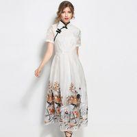 Wholesale Short White Elegant Cheongsam - Vintage Cheongsam Dress Women Summer Large Swing Dresses Fashion Animal Cranes Printing Embroidery Slim Elegant Dress Plus Size