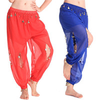 Wholesale Belly Dancing Clothes - Adult Woman Bollywood Pants Coin Belly Dancing Dance Pant Tribal Belly Dance Costumes Professional India Bellydance Egypt Pant Clothes