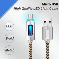 ingrosso cavo dati apple iphone-Cavo dati Micro USB in metallo intrecciato con carica rapida da 1M 3FT con cavo di ricarica a LED in rame per Smart Phone
