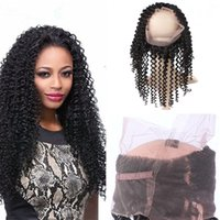Indische Kinky Curly 360 Lace Frontal Band 8A Unverarbeitete Virgin Hair Full Lace Frontal Verschluss 360 New Style Natürliche Hairline