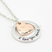 "Wholesale Love Necklace For Couples - 2016 Anniversary Necklace""I love you more"" necklace Anniversary Gift love necklace For couples girlfriend wife daughter Jewelry"