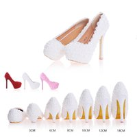 Wholesale Leather Prom Heels - Luxury Waterproof Appliques Beads Women Bridal Shoes Diamonds Beads Lady Wedding High-Heeled Rhinestones Evening Party Pageant Prom Pump