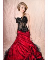 Wholesale Stapless Wedding Gowns - Classic Red And Black Mermaid Wedding Dresses 2017 New Arrival Stapless Sleeveless Ruffles Sexy Sheer Corset Bridal Gowns Robe De Mariage