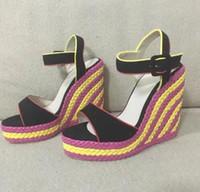 aumentar la altura del precio de los zapatos al por mayor-2017 precio de fábrica del verano nuevos zapatos de colores anudados sandalias de cuña de las mujeres punta abierta altura plataforma de aumento sandalias de mujer tacones