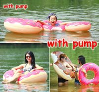 Wholesale Swimming Pool Air Pump - 6 Sizes Thick Inflatable Air Mattresses Cute Doughnut Design Gigantic Swimming Floating With Pump Adult Kids Row Pool Toy For Water Game