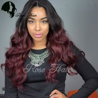 Wholesale 1b Burgundy Color Wigs - #1b 99j Burgundy Body Wavy Ombre Lace Front Human Hair Wigs Full Lace Human Hair Wigs For Black Women