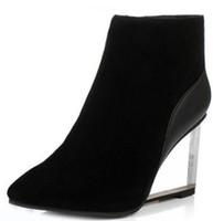 0bff7eb537f Zapatos para mujer cuñas transparentes slip-On tacones altos botas de tacón  puntiagudo botas de tacón alto botas de invierno negro mujer size33-41