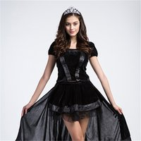 Wholesale Gothic Headdress - Witch Costume Dresses A Fairy Tale Cosplay Game Clothing Masquerade Queen Include Dresses Headdress Black Party Evening Dresses