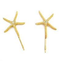 Wholesale Crystal Star Hair Pins - 12 PCS Crystal Hair Clip Barrette Metal Gold Starfish Hair Pins Star Hair Accessories For Women Girls