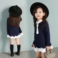 Wholesale Long Cravat - Children princess dress 2017 new autumn girls cotton white cravat falbala long sleeve preppy style pleated dress kids fashion clothes C0399