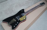 guitar body shapes NZ - Unusual Shape Electric Guitar with Black Body and Brass Tailpiece and Can be Customized as Request
