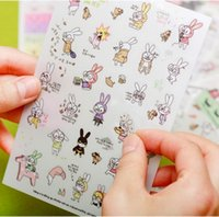 Wholesale Paper Sticker Album - 6sheets set Cute Cartoons Rabbit Diy Album Diary Decor Scrapbooking Stickers Kawaii Sticker On Paper K6538
