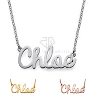 Wholesale Personalized Nameplate Necklace - Free Shipping 316L stainless steel high quality Personalize Cursive name necklace Customized Nameplate Necklace with black bag