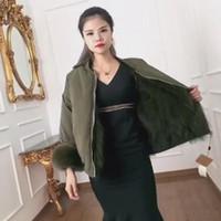 Wholesale Women S Silk Velvet Jackets - women's real FOX hair Lined Silk Velvet Shell fur Coat Luxury Genuine Ladies Fur parka jacket