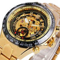 Wholesale Limited Winners - Wholesale- 2016 WINNER Gold Watches Top Luxury Brand Men Automatic Mechanical Watch Male Skeleton Wristwatches Full Steel Sports Design