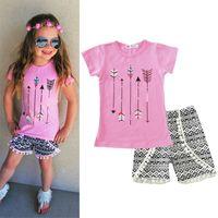 Wholesale Girl Clotes - Girls Cotton T Shirt and Pants Sets Kids Summer Clothing Sets Pink t-Shirt and Shorts Girl Clotes