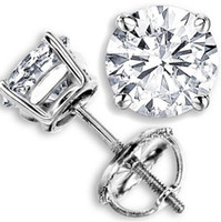 Wholesale Ct Earrings - 2.00 CT G-H SI GENUINE ROUND DIAMOND STUD EARRINGS 14K WHITE GOLD