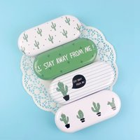 Wholesale Metal Tin Pencil - Wholesale- Fashion Novelty Creative Lovely Cute Green Cactus Iron Tin Metal Glasses Box Kawaii Spectacle Case with Cloth