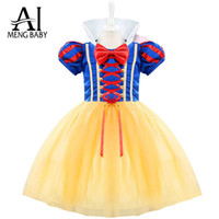 Wholesale Dress Up Costumes For Kids - Wholesale- Ai Meng Baby Girl Princess Snow White Costumes Cosplay Cute Kids Halloween Outfits Dress Up Girl Dress For 1-2 Year Newborn Baby