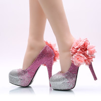 Silver Fuchsia Ombre Cinderella Shoes com Flower Prom Crystal Evening Saltos altos Gems Rhinestones Bridesmaid Wedding Shoes 5 8 11 14CM 008