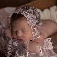 Wholesale Tie Baby Hats - Lace Newborn Caps 2017 Baby Tie Lace Caps Hats Newborn Photography Props Accessories Baby Photography Props Lace Tie Caps Newborn Props 42
