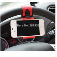 Wholesale Cheap Iphone 5s Sale - Cheap Sale! Hot Universal Car Steering Wheel Mobile Phone Holder for iPhone 4S 5 5S 5C Galaxy S4 S5 GPS MP4 PDA